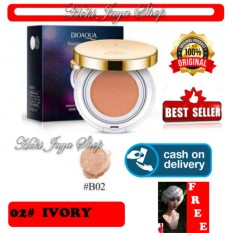 HOKI COD - IVORY #02 - KOTAK HITAM - Bioaqua Exquisite and Delicate BB Cream Air Cushion Pack Gold Case SPF 50++ Foundation Make Up Non Refill + Gratis Shower Cap Putih - Premium