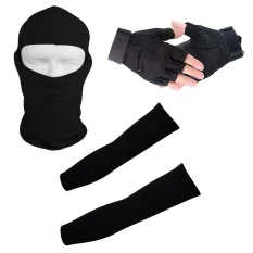 3 set Size L(Black) 1 Pair Half Finger Gloves + 1 pair Arm sleeves + 1 Full Face Mask For Outdoor Sports Balaclava Head Neck Wraps Hat Windproof UV Cool Block Anti Slip Glove Military Tactical Hunting Cycling Weight Lifting Unisex Woman Man