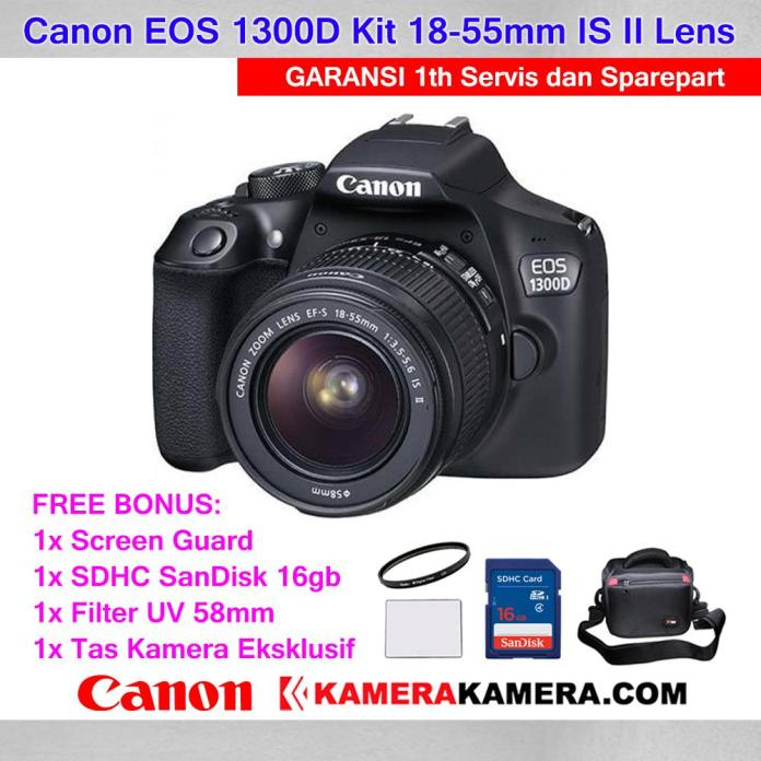Canon EOS 1300D Kit EF-S 18-55mm IS II DSLR Canon 1300D Wi-Fi 18MP Full HD - Garansi 1th Servis & Sparepart + Screen Guard LCD + Memory Card SDHC 16gb + Filter UV 58mm + Tas Kamera
