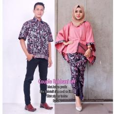 Baju Batik Couple - Batik Sarimbit - Batik Kondangan - Kebaya batik Modern - Baju Gamis Wanita Terbaru - Batik Couple Robbani Set Couple - PINK