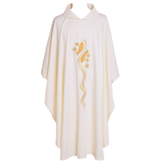 Catholic Church Priest Chasuble Pria Muslim Robe Cekak Musang (Putih/Kerah Leher)