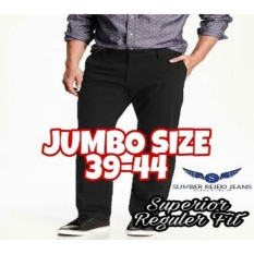 Celana Bahan Jumbo Size 39-44 - Celana Formal Teflon Anti Air - Model Standard Reguler Fit - Warna Hitam