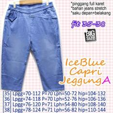 Celana Ice Blue Capri Jegging A 35 36 37 38 JUMBO BIG SIZE