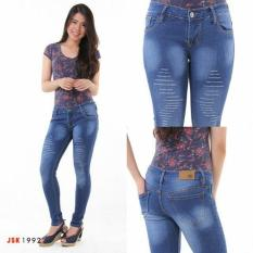 Celana Jeans Wanita  Hasanah Fashion RM JSK 1934 Warna Putih Model Hight Waist Ukuran 27-34