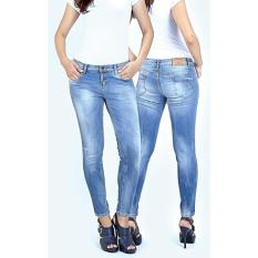 celana jeans wanita stretch bahan melar ngaret denim slim fit for skinny fit blue washed lgz037