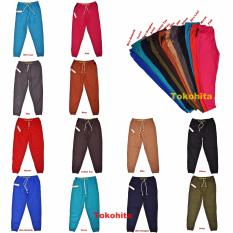 Celana Panjang Jogger Dewasa Tali Bahan Semi Denim All Size Fit To XL