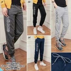 Cj collection Celana jeans joger panjang wanita jumbo long pant sport Niken- 04