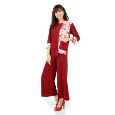 DaveCollection Setelan kombinasi bunga lengan 7/8 dengan celana kulot - HIJAU TOSCA