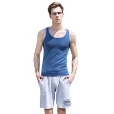 Baju Atasan Mode-handle Bags Casual Kerah Bulat Warna Blok Letterprint Cotton Blend Gym Tank untuk Pria (Medium Blue) -Intl