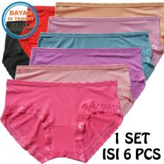 Fs'Fashion- 6 Pcs Celana Dalam Wanita Katun Renda Multicolour ( 6 Pieces)