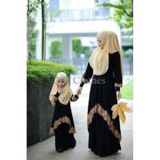 Gambar [Cp Mk Bergo Black VL] Pakaian Muslim Pasangan Ibu Dan Anak Murah