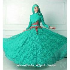 IndonesiaHeritage Gamis Pesta Brukat Bordir Cantik + Pashmina - Kondangan Hijaber Muslimah - Fashion Muslim Wanita - Gaun Party Maxy Dress ihrosalinda