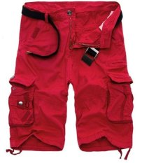 Mens Casual Slim Fit Cotton Solid Multi-pocket Kargo Camouflageshorts (Merah)-Intl