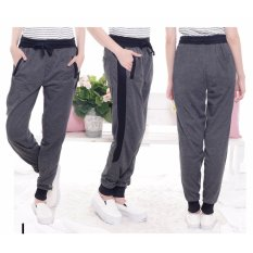Okechuku Kurt Celana Panjang Training Olahraga Wanita Jogger Pants Sweatpants (Dark Grey)