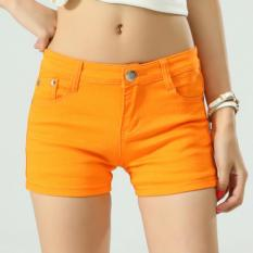 Outlet Baru Candy Denim Celana Pendek Warna Orange-Intl