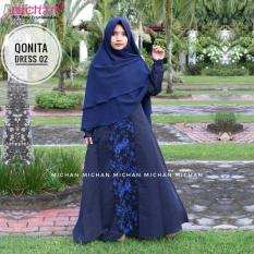 QONITA DRESS 02 - GAMIS MICHAN- GAMIS BALLOTELI MIX JET BLACKMOTIF