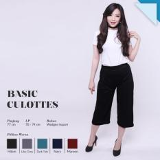 Ready Celana Wanita Murah Surabaya Basic Cullotes Black Wedges Import