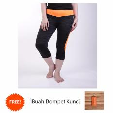 Ronaco Celana Senam Zumba Pants Celana Aerobik Celana Yoga Import – Hitam strip orange - CSI009