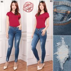 Shining Collection Celana Jeans Sobek Panjang Deasy Long Pants Wanita