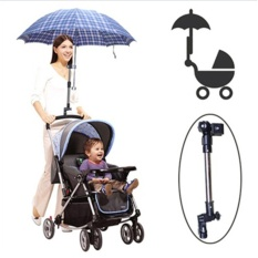 Stainless Steel Umbrella Holder Kursi Roda Pram Swivel Payung Konektor Stroller Holder Hitam-Intl