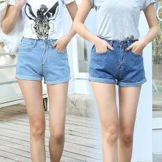 Musim Panas Fashion Wanita Pants Bang Pendek Wanita Pants Denim Bang Pendek Jeans Usang (biru)-Internasional-Internasional