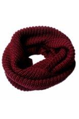 Sworld Womens Winter Hangat Infinity 2 Circle Kerudung Leher Panjang Kabel Merajut Syal Selendang Burgundy-Intl