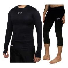 Under Armour Base Layer Set Baju Panjang Celana 3/4 Manset Baselayer