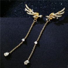 1 Pair Crystal Angel Wings Borgol Telinga Anting Sapu Sampai Ear Vine Wrap Pin Fringe Earrings (emas) -Intl