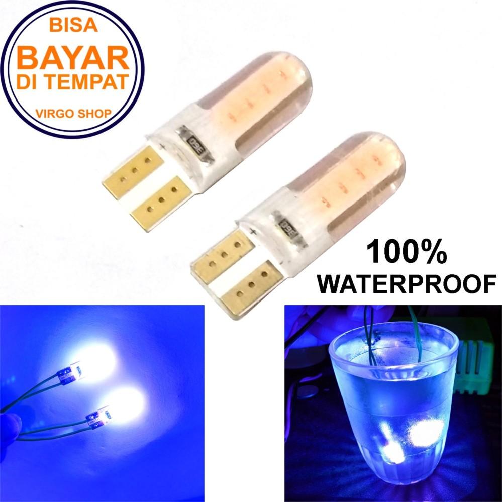 2 Pcs Led Tipe: Diam Gel / Jelly / Silicone Super Bright Soket T10 Bisa Untuk Senja atau Lampu Stop Vario 125/150 - Biru