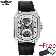 2016 PEMENANG Merek Terkenal Pria Mewah Otomatis Self Wind Watch Jam Tangan Skeleton Rectangle Dial Kaca Transparan Silver Case Leather Band