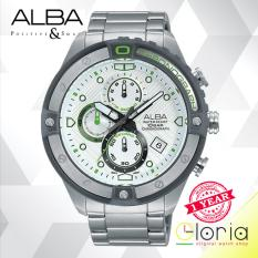 Alba Signa Chronograph Jam Tangan - Strap Stainless Steel - Silver - AM3327X1