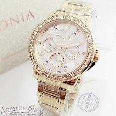 Bonia Bn2215 - Jam Tangan Fashion Wanita - Design Glamour - Fiture Chronograph Active Exclusive - Stainless Mix Diamond - Limited Edition - Gold