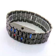 Fashion Casual Unik Alloy Lava Binary System Pecinta Pasangan LED Elektronik Watch Casual Jam Tangan Rantai Jam Tangan Pria (Hitam)