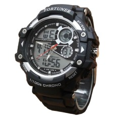 Fortuner Dual Time - Jam Tangan Pria - Rubber Strap - FR AD1602 BW - Hitam