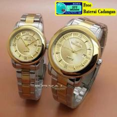 Fortuner F-4495RS - Jam Tangan Couple - Strap Stainless Steel- Gold