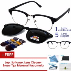 Frame Kacamata Clip On Clubmaster Kotak Gratis 5 Lensa Warna Sunglass  Polaroid Night View Bisa Dipasang 45479f000d