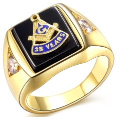 Hot Selling Natural Black Onyx 18 K Berlapis Emas Masonic Memorial Pesta Keagamaan Ukuran Cincin 7 8 9 10 11 12 13 14 15-Intl