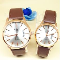 JAM TANGAN COUPLE GC TANGGAL SAMPING KULIT COKLAT TUA **GC004**