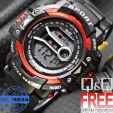 Jam Tangan Pria & Wanita - Water Resist - Q&Q Digital QQ878G25-  Rubber Strap Design Trendy