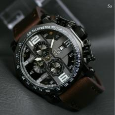 Jam tangan Pria - Casual Trendy - Leather strap - Model Exclusive - Chrono  on (GC)