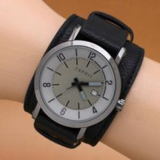 Jam Tangan Pria / Cowok Esprit Casual Leather Full Black - Lndevk