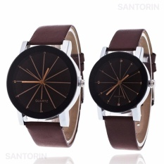 Jam Tangan Quartz 1 Pair Pria dan Wanita Strap Kulit PU Men Women Stainless Steel Leather Couple Watch - Brown Black