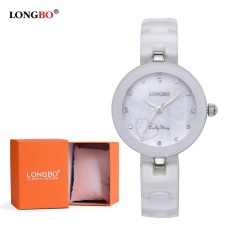 LONGBO Wanita Keramik Band Gelang Quart Analog Watch dengan Diamond 80111-Intl