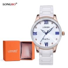 LONGBO Wanita Keramik Band Gelang Quart Analog Watch dengan Diamond 80170-Intl