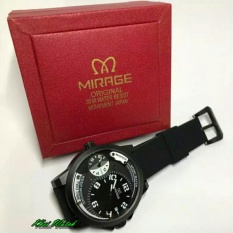 Mirage Original MR1109 Dual Time - Jam Tangan Sport Pria - Rubber Strap - Black
