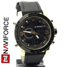 Naviforce NF9097 - Jam Tangan Pria - Original Branded - Fiture Dual Time  - Strap Leather