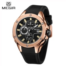 Original MEGIR MN2053G Men Sport Watch Chronograph Silicone Strap Quartz Army Military Watches Clock Men Top Brand Luxury Male Casual Wristwatch - intl