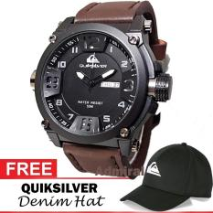 Quiksilver Outdoorwatch / Rip-curl Ocean surfing - Jam Tangan Sport / Kasual Pria - Genuine Leather Strap / Tali Kulit - Bonus Topi Rip/Quik Denim / Trucker Hat