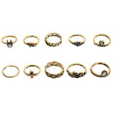 Retro national wind 10 sets of combination ring (gold)