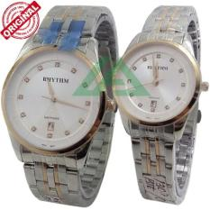 Rhythm Sapphire D35H405RH1301MCMBPRGP Date Jam Tangan Pasangan Stainless Steel Chain ( Combinasi )